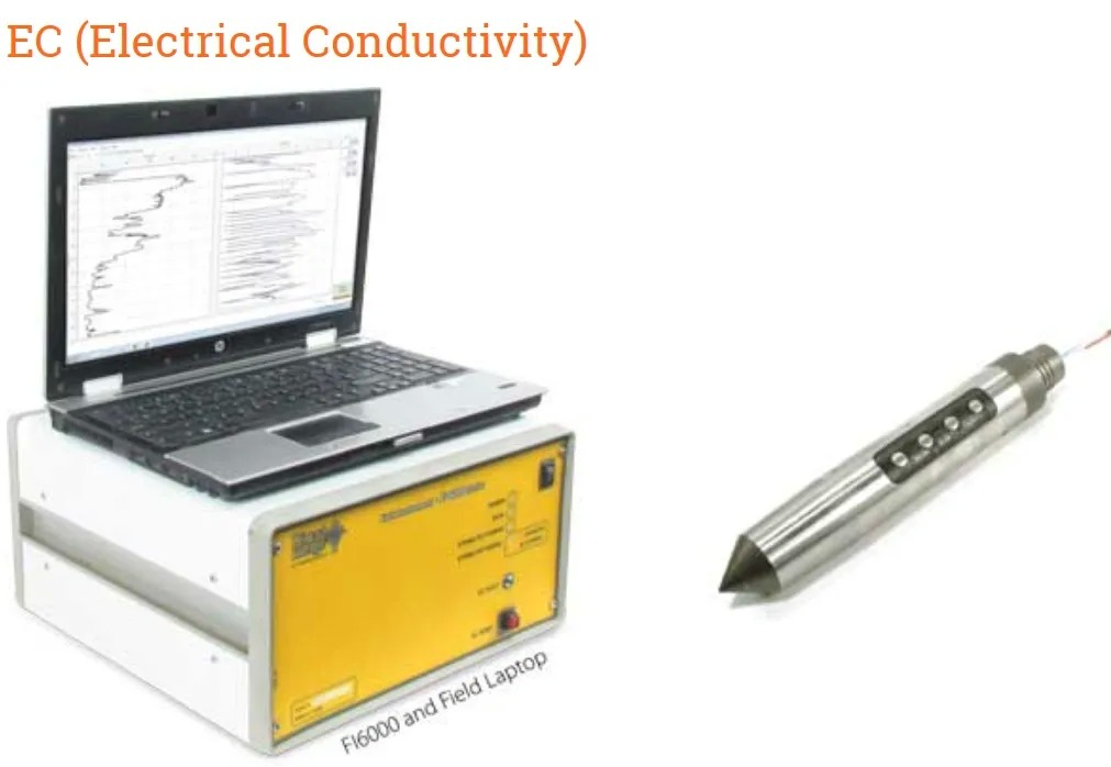 F16000 with field laptop and EC (Electrical Conductivity) tool.