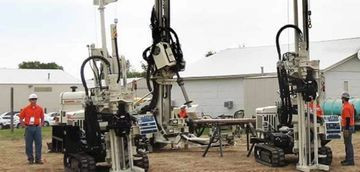 Direct push drilling for subsurface imaging.